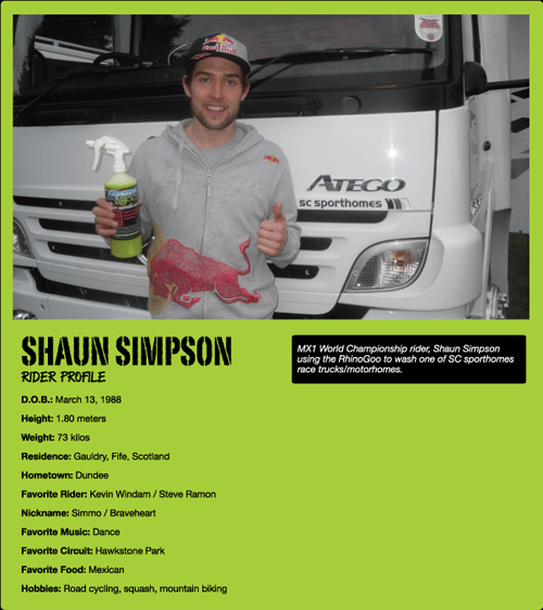 Shaun Simpson Rhino Goo Endorsement